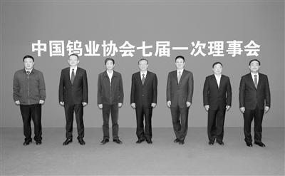 中国钨业协会第七届理事会领导班子(左起:谢屹峰、倪莹驰、吴高潮、丁学全、李仲泽、江春林、苏刚)