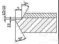 镍钢复合板台阶式坡口加工简图
